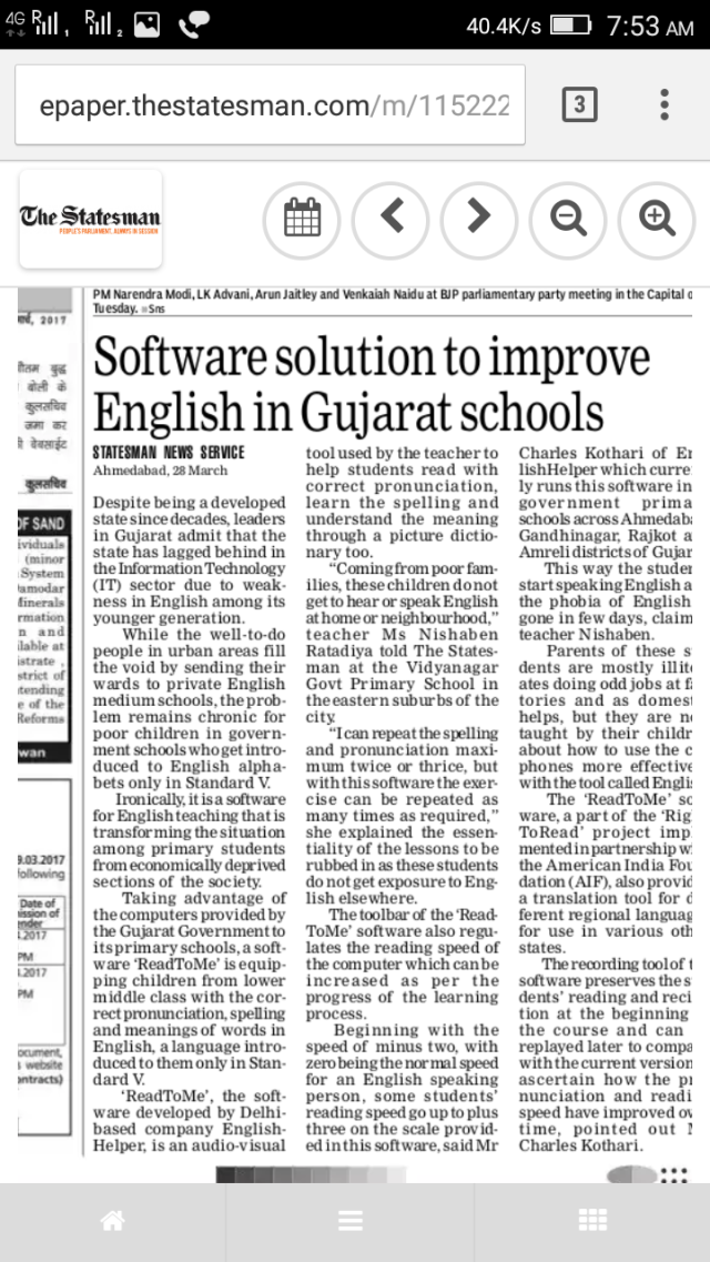 Software Solution to Improve English in Gujarat Schools -The Statesman - 290317